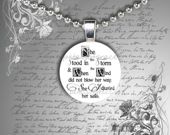 SET 2 for 14 She Stood in the Storm Adjusted Her Sails breast cancer quote glass pendant necklace gift 20mm
