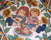 Vintage Raggedy Ann Fabric -  Kitsch Panel Squares Cotton Yard
