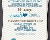 Baby Sprinkle, Baby Shower, or Sip n See Invitation -- Baby boy or Girl baby -- Modern Chevron Bird -- Custom printable jpeg file