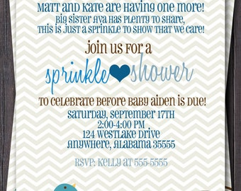 Baby Sprinkle, Baby Shower, or Sip n See Invitation -- Baby boy or Girl baby -- Modern Chevron Bird -- Custom printable jpeg file