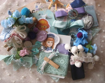 SALE Vintage blue lilac lovely goodies crafting pack
