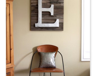Extra Large 24 Inch Letter E on Reclaimed Wood