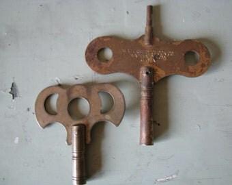 2 Antique Brass Clock Keys Steampunk and Art Supplies