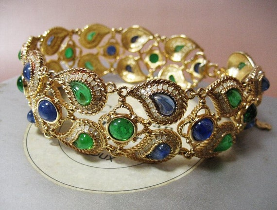 Bijoux Vintage Dior : Christian dior vintage super rare wide necklace choker green