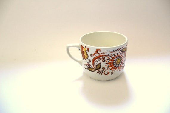 Vintage Portuguese Tea Cup Orange Brown and Yellow Flower Pattern