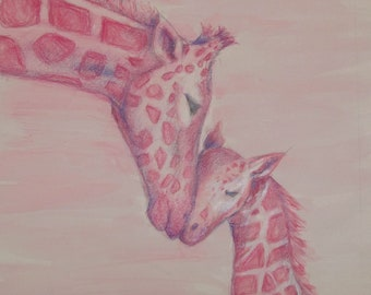 Colored Pencil/ Watercolor Pink Giraffes