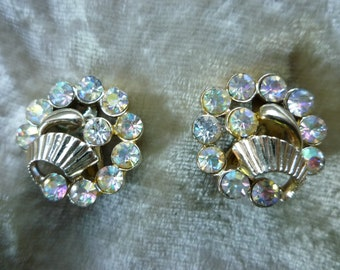 Claudette Iridescent Glass and Gold Earrings
