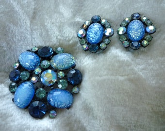 SALE!  40% Off Original Price - Claudette Shades of Blue Easter Egg Brooch and Earrings Set