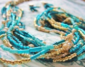 Wood and Glass Bead Necklace & Earrings Set, multi stranded, women, turquoise, gold, wood, long, champagne, beaded, pierced