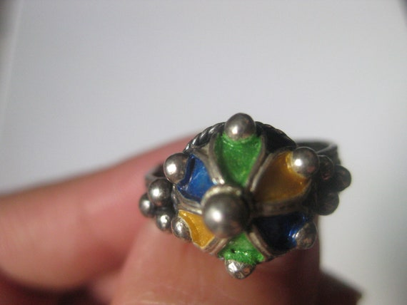 LOVELY Vintage RARE Sterling Silver Ring, crown ring, Enamel jewelry, Berber Ring