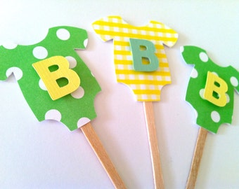 """Green/Yellow """"B is for Baby"""" One-Piece Bodysuit Cupcake Toppers: Perfect for Gender Neutral Baby Showers"""