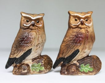 Pair of Vintage Ceramic Owls on Branches