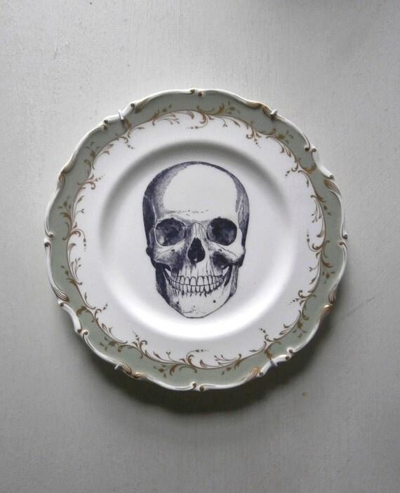 Vintage Skull Plate Altered Art