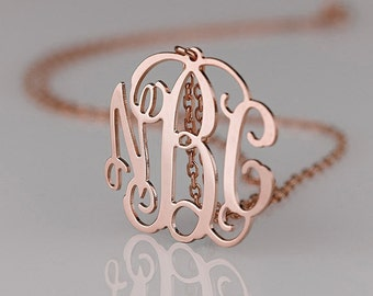 Rose Gold Monogram necklace - 1.25 inch Personalized Monogram - 925 Sterling silver 18k Gold Plated