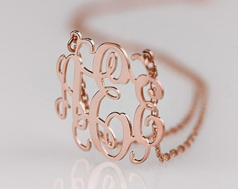 Rose Gold Monogram necklace - 1 inch Personalized Monogram - 925 Sterling silver 18k Gold Plated