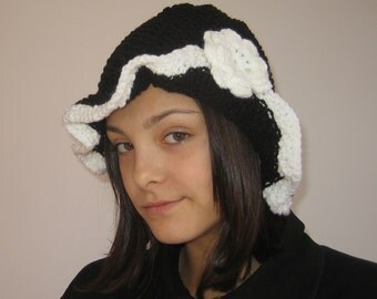 Black Knitted hat for women and teens girls adorned with crochet flower