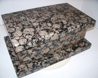 Stone Handmade Keepsake Box Wedding Box Cremation Vault   Baltic Brown Granite