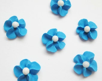 Blue Royal Icing Flowers with White Sugar Pearl Center (100)