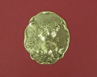 1 Lovely Repousse Stamping of A Victorian Era Woman In Profile with Flowers - Antiqued Silver - 40x35mm