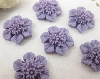 Shop Closing Sale! 6 Pcs. 21mm  Purple Flower Bouquet and Leaf Cabochon FL007-PUR