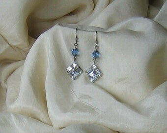 Rhinestone Earrings w Rosary Beads