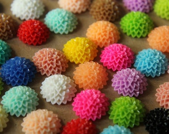 CLOSEOUT - 20 pc. Multi-Colored Chrysanthemum Cabochons 15mm | RES-436