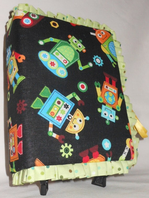 Items similar to baby shower gift robot fabric photo album for Baby themed fabric