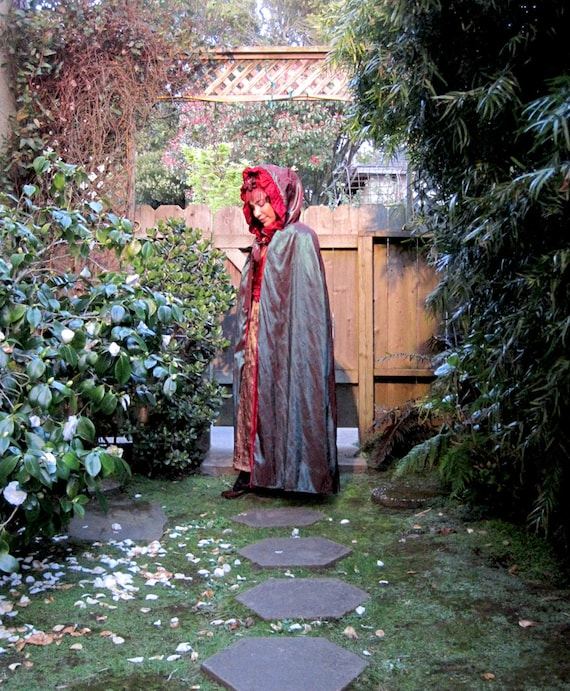 ON SALE Fairytale Reversible Red Velvet and Green Iridescent Cape / Cloak with Hood