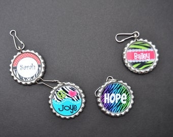4 Personalized Zebra Zipper pull Birthday party favor, Choose FINISHED or DIY Craft kit,Plain or GLITTER epoxy, for coats,lunchboxes