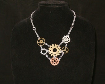 Steampunk Gear Chainmaille Necklace