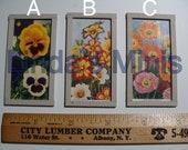 Vintage flower artwork dollhouse miniature 3 varieties - poppy, salpiglossis, pansy
