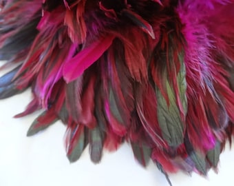 Rooster Schlappen Half Bronze Fuchsia feathers wholesale craft design costume supply hair extensions