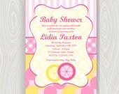 Baby Shower Printable Invitation with Matching Thank You Card - Sweet Lemonade Stand