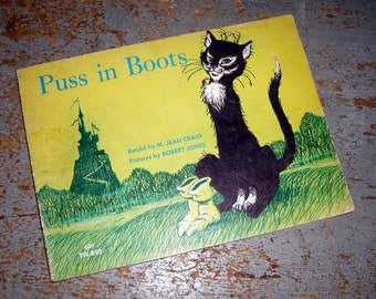 """Vintage Book, """"Puss in Boots"""",  Child's Book, Yellow, 1966 / 1972, Publication"""