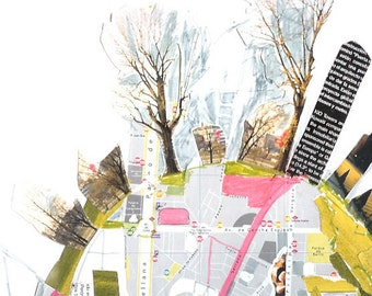 Cityscape Art print from collage