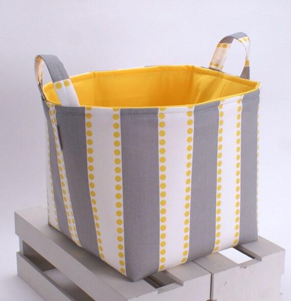 """10""""x10""""x10"""" Storage Basket Laundry Toy Bin Storage Container - Grey Lulu Stripe Fabric"""