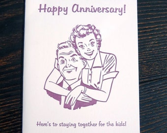 Happy Anniversary, Snarky Letterpress Card.