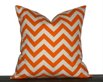 "18"" Natural and Orange Chevron Zig Zag Pillow- 18 x 18 Inch Chevron Pillow Cover"