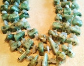 Unique Kiwi Jasper Aqua Marine Double Strand Necklace
