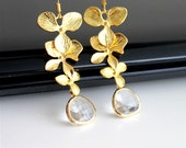 Cascade orchid flower gold earrings, clear crystal earrings, bridesmaids gift. Wedding jewelry