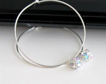 Small rhinestone silver hoop earrings, tiny AB crystal ball dangle earrings, simple everyday jewelry