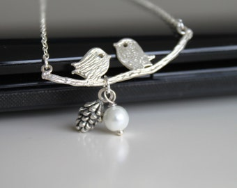 Two kissing love birds necklace, snow white pearl necklace, simple silver necklace, everyday jewelry
