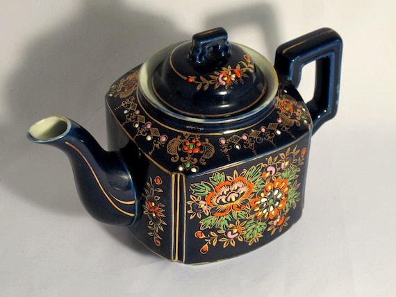 Japanese blue glazed tea pot 1930s