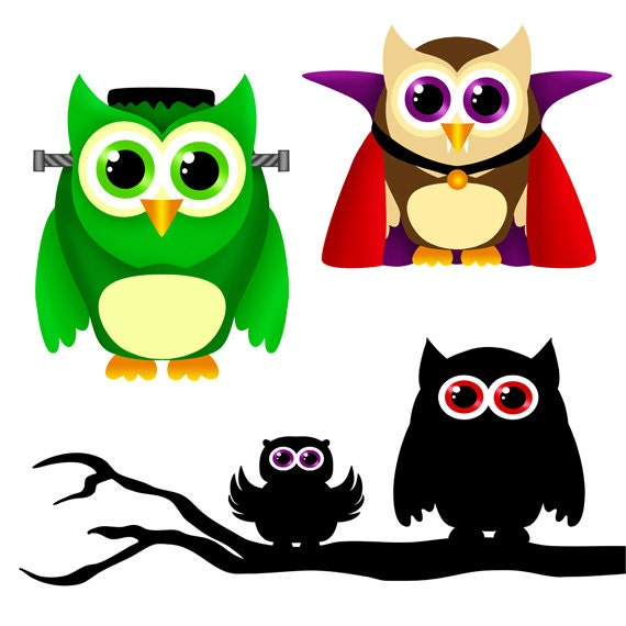 Halloween Owls clip art set 10 designs. INSTANT DOWNLOAD for