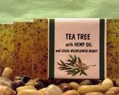 Tea Tree handmade natural soap with hemp oil, healing & soothing, herbal remedy
