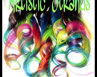 "Colored Ombre Hair Extensions /Clip In Extensions/ 10-two inch wide/ 16"" long clip in extensions/ Light Colored Neon Rainbow"