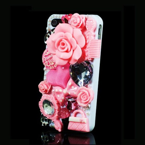 iPhone 4 and iPhone 4S Decoden Style Pink Fashion Designer Bling case