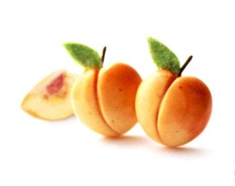 FREE SHIPPING - Peaches Stud Earrings - Small Ear Studs - Earrings Post - Food Jewelry