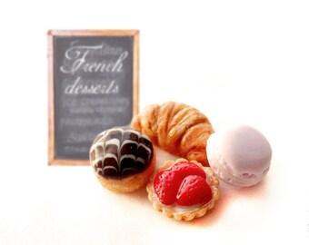 FREE SHIPPING - French Dessert Stud Earrings - Set of Earrings Post - Small Ear Studs - Food Jewelry