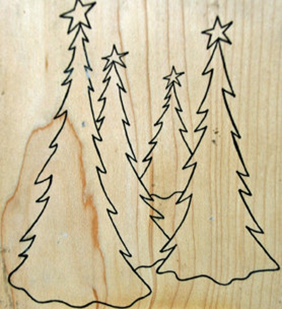 """OUTLINES RUBBER Stamp Company Christmas - """"Oh Christmas Tree"""" -  Scrapbooking Cardmaking Collage Crafts"""